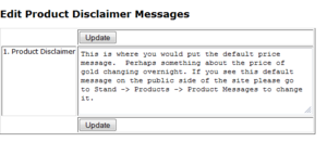 Default Product Messages